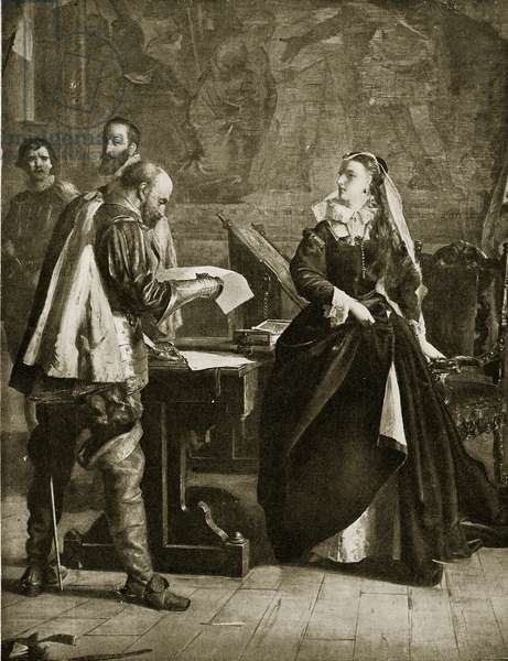 Mary Queen of Scots signs her abdication, July 1567, illustration from 'Hutchinson's Story of the British Nation', c.1923 (litho)