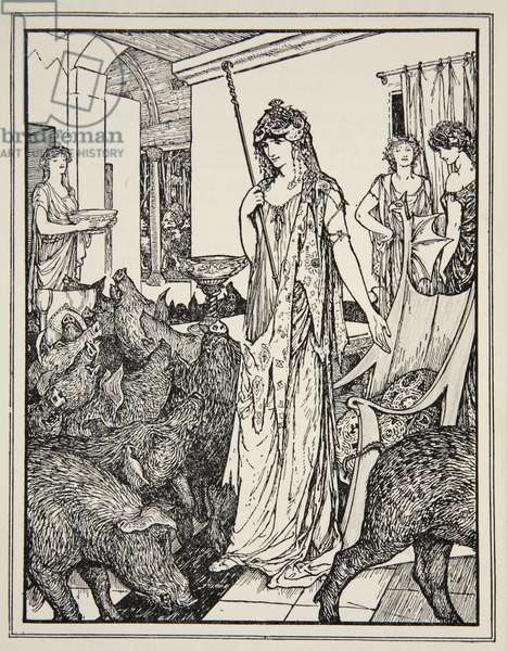 Circe sends the Swine (The Companions of Ulysses) to the Styes, frontispiece from 'Tales of the Greek Seas' by Andrew Lang, 1926 (ink on paper)
