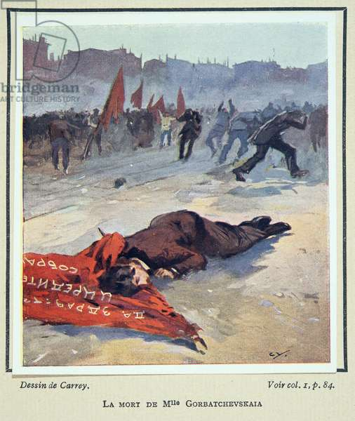Death of Mlle. Gorbatchesckaya, from Histoire des Soviets, pub. 1922 (colour litho)