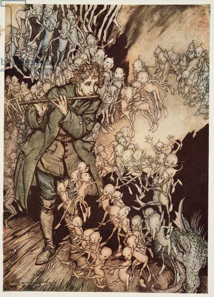 'He played until the room was entirely filled with gnomes', from 'Little Brother & Little Sister and Other Tales by the Brothers Grimm', pub. 1917 (colour litho)