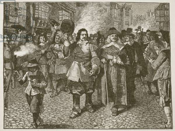 Reception of Monck in the City of London, illustration from 'Cassell's Illustrated History of England' (engraving) (sepia photo)