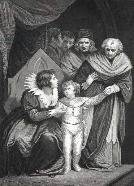 Elizabeth Woodville surrendering her son (litho)