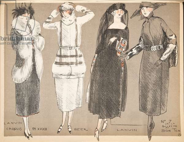 Designs by Lanvin and Beer, from a Collection of Fashion Plates, 1920 (pochoir print)