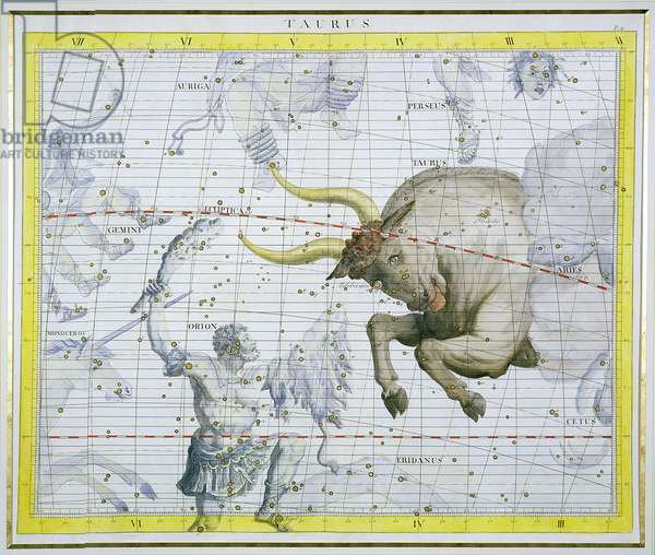 Constellation of Taurus, plate 2 from 'Atlas Coelestis', by John Flamsteed (1646-1710), published in 1729 (hand coloured engraving)