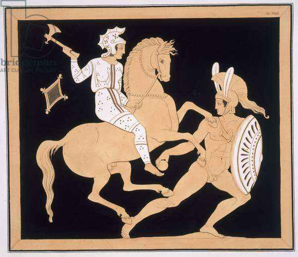 Greek warrior in combat with a mounted Amazon, published 1808-10 (colour litho)