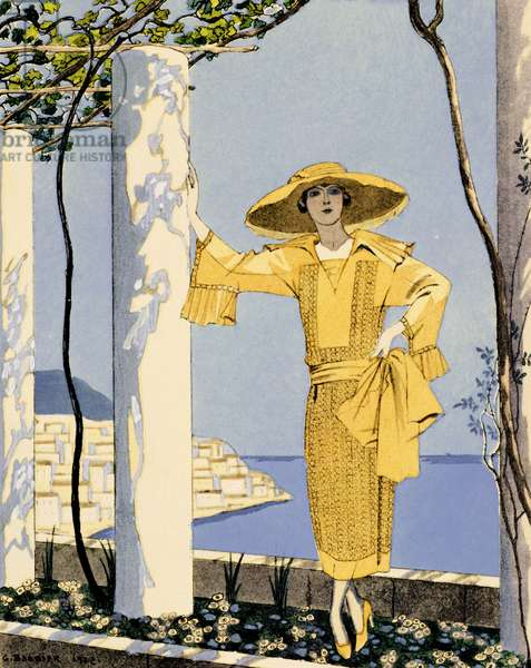 Amalfi, illustration of a woman in a yellow dress by Worth, 1922 (pochoir print)