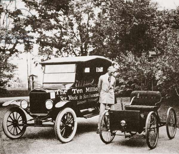 Henry Ford with his first car and his ten millionth (b/w photo)