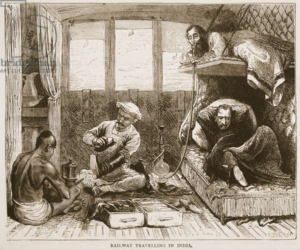 Railway Travelling in India, illustration from 'Cassell's Illustrated History of England' (engraving)