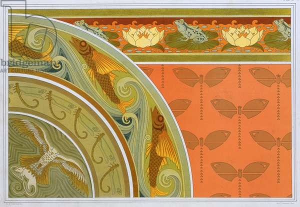 """Designs for wallpaper borders """"Frogs and Waterlillies"""", Border of """"Flying Fish and Dragonflies"""" and centre with """"Hawk and White Mouse"""",   and paper with stencilled dragonflies, from 'L'Animal dans la Decoration' by Maurice Pillard Verneuil,  pub. 1897 (colour lithograph)"""