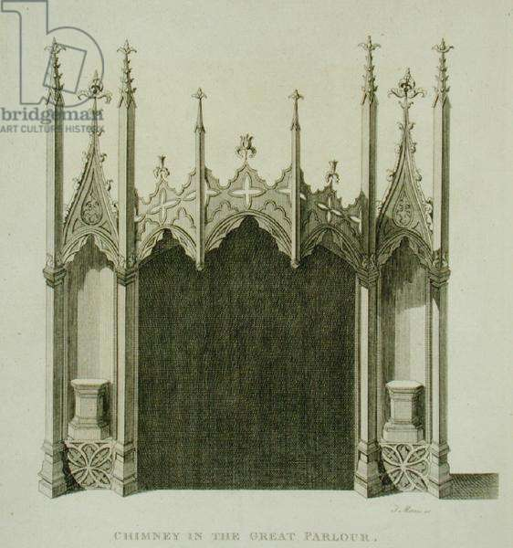 Chimney in the great parlour of Strawberry Hill, engraved by T. Morris, from 'Description of Strawberry Hill' by Horace Walpole, 1784 (engraving)