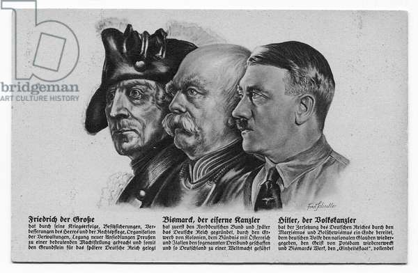 Postcard depicting Frederick the Great, Bismarck 'The Iron Chancellor', and Hitler, 'The People's Chancellor' (litho)