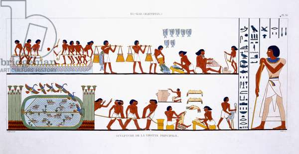 Various uses of Nets, from a Rare Record of Frescoes from Thebes, recorded 1819-1822 on his second visit to Egypt by Frederic Cailliaud (1787-1869), colour litho