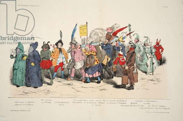 Ceremonie des Cendres Politique, from La Caricature, pub. 1833 (hand coloured lithograph)