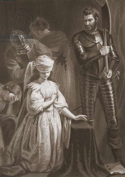 Execution of Mary Queen of Scots, engraved by A.H. Payne (litho)