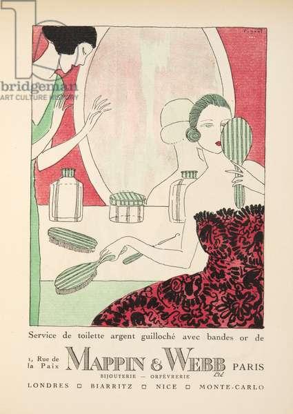"Advertisement for ""Mappin & Webb"", from Gazette de Bon Ton, pub.  1920 (pochoir print)"