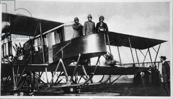 Russia's 3 and a 1/2 ton aeroplane for eight! A giant Sikorsky biplane, one of which bombarded the Germans in East Prussia, from 'The Illustrated War News' (b/w photo)