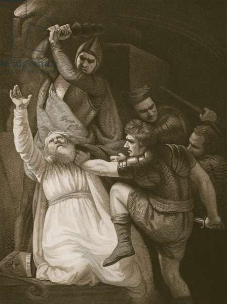 The Death of Becket, engraved by J.Stowe, illustration from David Hume's 'The History of England', pub. by R. Bowyer, London, 1812 (engraving)