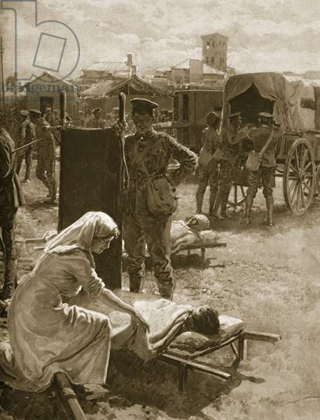 A Medical Station Dealing with Wounded Soldiers, 1914-19 (litho)