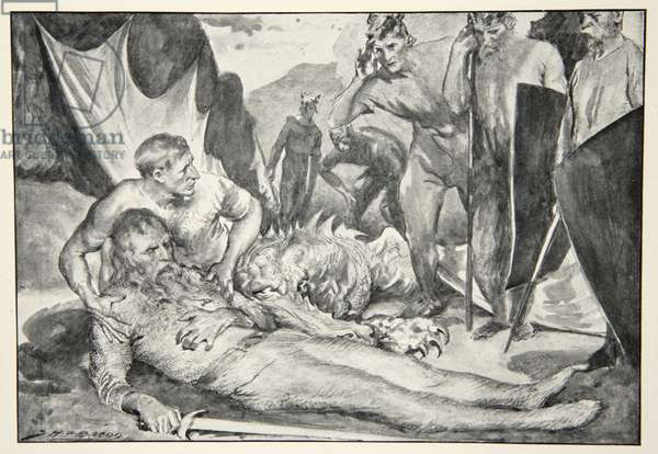 The Death of Beowulf, from 'Hero Myths and Legends of the British Race' by M.I. Ebbutt, 1910 (litho)