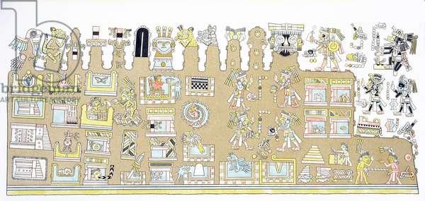 Mexican Hieroglyphics, from 'Vues des Cordilleres et Monumens des Peuples Indigenes de l'Amerique' by Alexander de Humboldt (1769-1859) and Aime Bonpland (1773-1858), published 1810 (engraving)