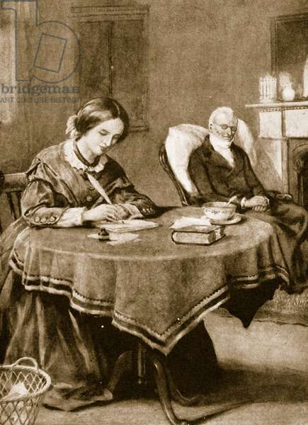 Charlotte Bronte working on 'Jane Eyre' (litho)