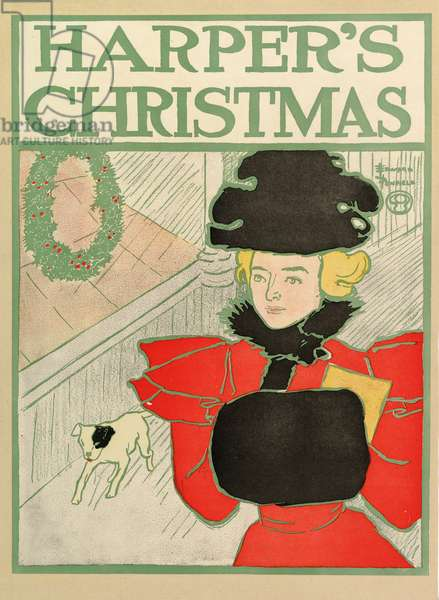 Poster advertising Harper's New Monthly Magazine, Christmas 1894 (colour litho)