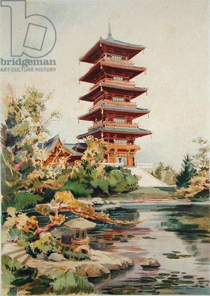Japanese Tower in the Royal Park at Laeken, Belgium, from 'Orientalisme et Architecture Contemporaine', engraved by Jules Adolphe Chauvet (b.1828) (colour litho) (see also 171915, 172965, 172990)