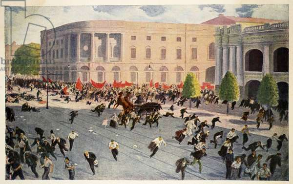 Troops fire on the demonstration in Petrograd, July 1917 (colour litho)