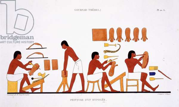 Leatherworkers from a Rare Record of Frescoes from Thebes, recorded 1819-1822 on his second visit to Egypt by Frederic Cailliaud (1787-1869), colour litho