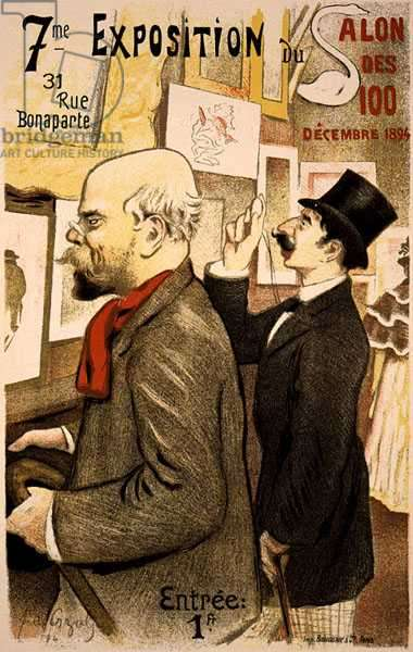 Reproduction of a poster advertising the '7th Exhibition of the Salon des Cent', Rue Bonaparte, Paris, 1894 (colour litho)