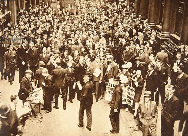 Crowd outside London Stock Exchange after fall of the Hatry Group, 1929 (sepia photo)