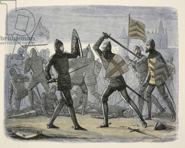 The relief of Calais, from A Chronicle of England BC 55 to AD 1485, pub. London, 1863 (colour litho)