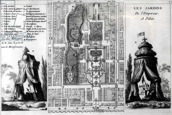 Plan of the Gardens of the Emperor of Peking, from 'Jardins Anglo-Chinois a la Mode', by George Louis le Rouge, published  c.1776-78 (engraving) (b/w photo)