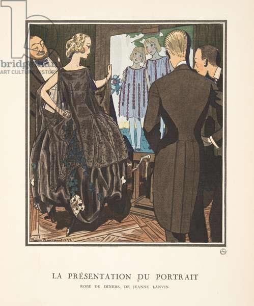 La Presentation du Portrait, from a Collection of Fashion Plates, 1921 (pochoir print)