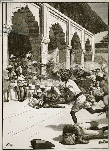 Arrest of the Rajah of Benares, illustration from 'Cassell's Illustrated History of England' (engraving) (sepia photo)
