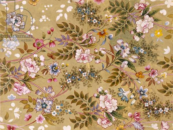 Flowered Textile Design, possibly by William Kilburn (1745-1818) (colour litho)