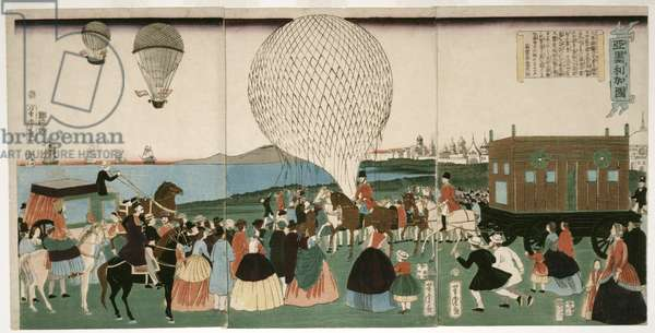 Ballooning in America, pub. 1865 (hand coloured woodcut)