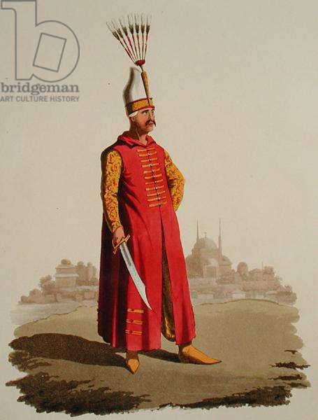 Turkish warrior, from 'Costumes of the Various Nations', Volume VII, 'The Military Costume of Turkey', by Thomas MacLean, published c.1800-18 (hand coloured aquatint)