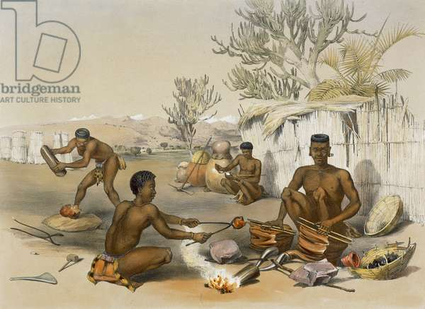 Zulu Blacksmiths at Work, plate 23 from 'The Kafirs Illustrated', 1849 (litho)