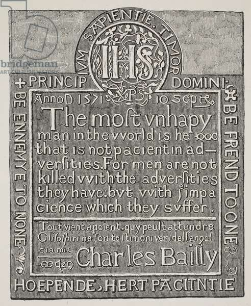 Copy of a carving by Charles Bailly, from the wall of the Beauchamp Tower, Tower of London, 1571 (engraving)