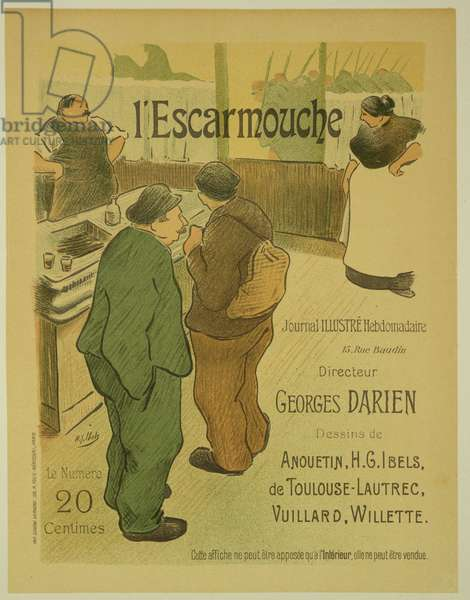 Reproduction of a poster advertising 'L'Escarmouche', a weekly illustrated journal, 1893 (colour litho)