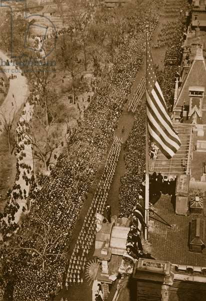Triumphal march of the 27th Division, U.S. Army, in New York, March 25th, 1919 (sepia photo)