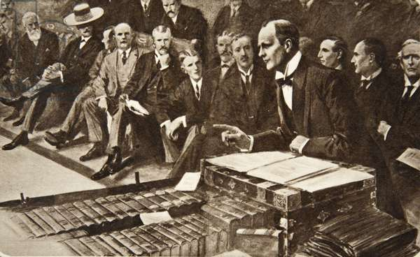 """""""The day of peril is too late for preparation"""": Mr Churchill, as First Lord of the Admiralty, making his momentous statement on Naval Policy in the House of Commons, July 22, 1912, from The Illustrated London News, July 27, 1912 (photogravure)"""