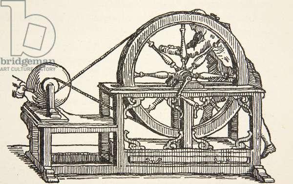 Abbe Nollet's electricity machine, 1746, copy by Boris Mestchersky (d.1957) illustration from 'Histoire de la Nation Francaise', Sciences, Volumes I & II, by Gabriel Hanotaux (1853-1944), 1924 (litho)