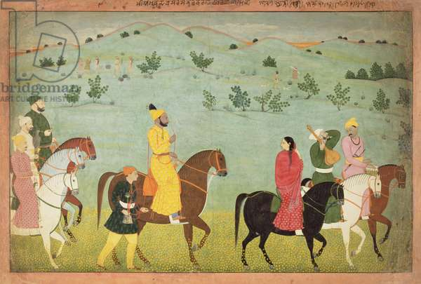 A Jasrota prince, possibly Balwant Singh, on a riding expedition, by Nainsukh (fl. 1740-50) Kashmir, c.1751 (gouache on paper)