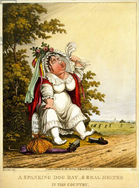 A Spanking Dog Day & Real Melter in the Country, engraved by George Hunt, published by Thomas McLean, London, 1827 (colour litho)