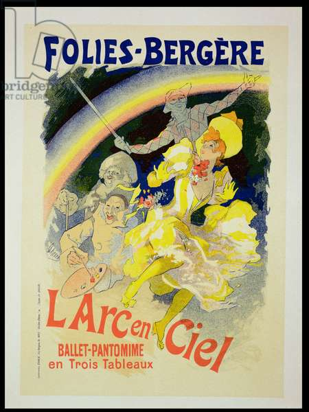 Reproduction of a poster advertising 'The Rainbow', a ballet-pantomime presented by the Folies-Bergere, 1893 (colour litho)