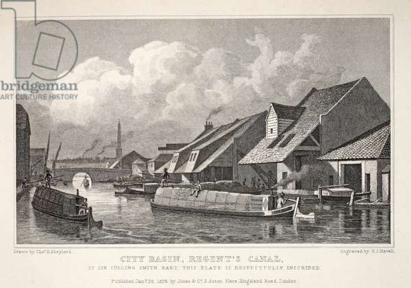 City Basin, Regent's Canal, from 'London and it's Environs in the Nineteenth Century' pub. Jones & Co., 1827-1829 (engraving)