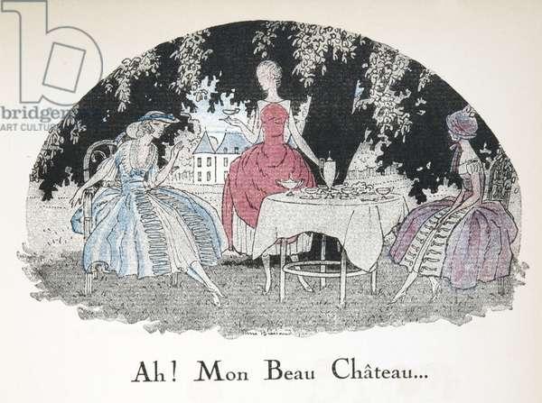 Ah! Mon Bon Chateau, from Gazette de Bon Ton, pub. 1920 (pochoir print)