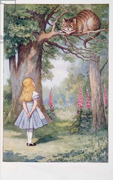 Alice and the Cheshire Cat, Alice's Adventures In Wonderland And Through The Looking-Glass And What Alice Found There, by Lewis Carroll (1832 - 98), published 1911 (coloured lithograph)